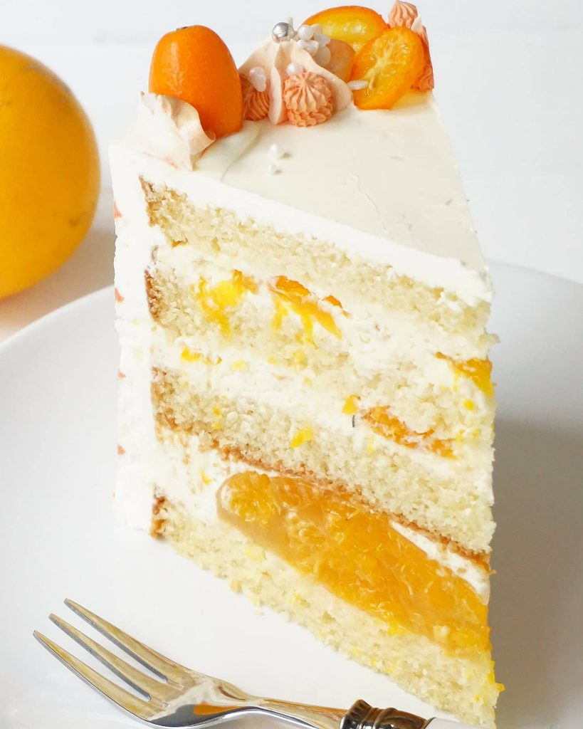 Anschnitt Mandarinen Torte