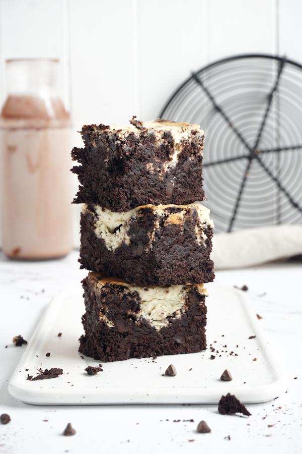 Saftige Schokoladen Brownies mit Swirl